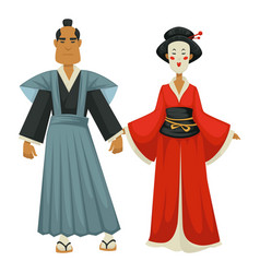 Japanese man and woman in traditional clothing vector