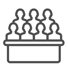 Jury box line icon group vector