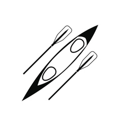 Kayak and rowing oar black simple icon vector image