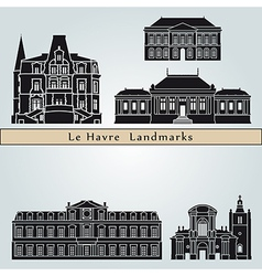 Le Havre landmarks and monuments vector image