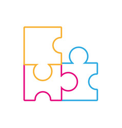 line puzzles pieces game to idea solution vector image