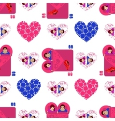 Lovers in bed Seamless pattern Valentine s Day vector