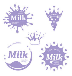 milk labels set splash and blot design mi vector image