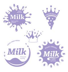Milk labels set splash and blot design mi vector