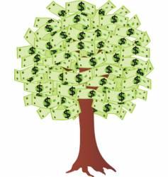 Money tree with dollars vector