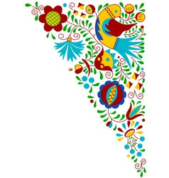 Moravian folk bird ornament vector