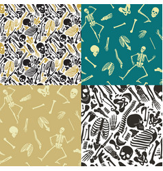 multicolor human skeleton seamless patterns vector image