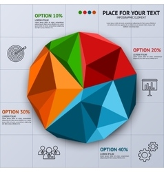 Pie chart in polygon style - business statistics vector
