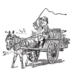 Pig driving car pull by donkey vintage vector