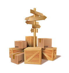 Pile of stacked goods cardboard and wooden boxes vector