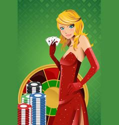 Poker woman vector
