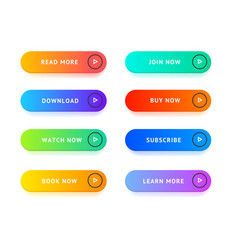 realistic detailed 3d color button template set vector image