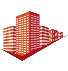 Red sign with skyscrapers vector image