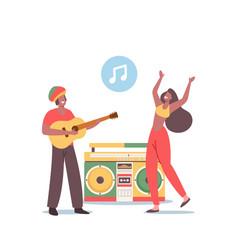 Reggae party rasta people having fun music vector