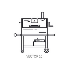 Retro furniture compact bbq grill and smokehouse vector