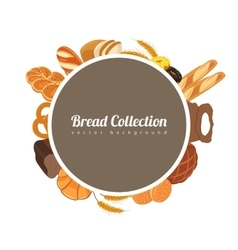 Round label with bread Food background with bread vector image