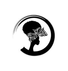 Round logo design hairstyle concept headdress vector