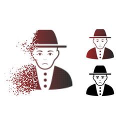 Sadly damaged pixel halftone jew icon vector