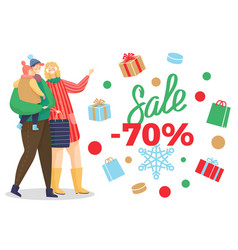 sale 70 percent off discount family and presents vector image