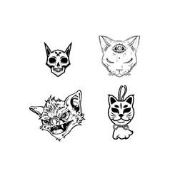 scary cat head halloween element vector image