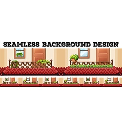 Seamless background design with balcony and roofs vector