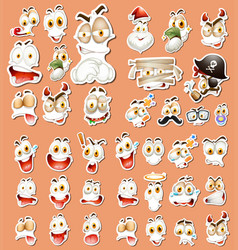 set of different facial expression sticker vector image