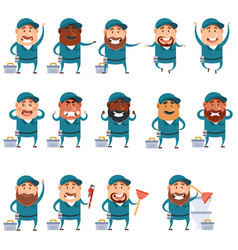 set of flat plumber icons vector image
