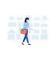 supermarket shopping concept vector image