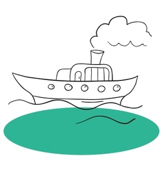 The ship and sea vector image