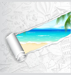 Travel background for sea beach vector