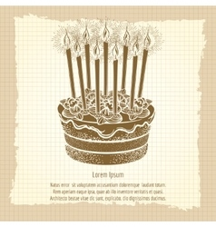 Vintage poster with birthday cake vector