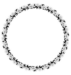 vintage round frame with black and white tulips vector image