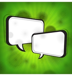 White speech bubbles on green vector image