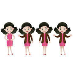woman in pink dress doing different actions vector image