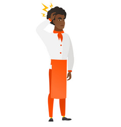 african chef cook with lightning over his head vector image