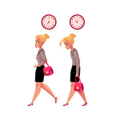 businesswoman hurrying to work and going back home vector image vector image