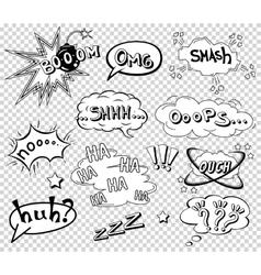 Comic speech bubbles set wording sound effect vector image vector image