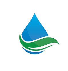 leaf water drop logo image vector image