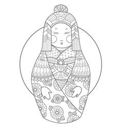matryoshka coloring book vector image vector image