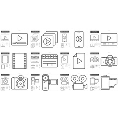 Media line icon set vector image vector image
