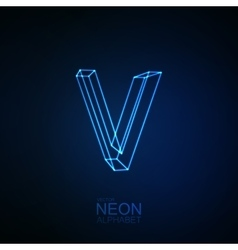 Neon 3D letter V vector image vector image
