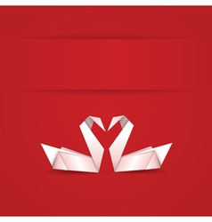 Origami swans on red background vector image vector image