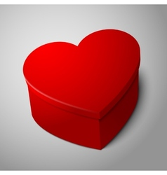 realistic blank big bright red heart shape box vector image vector image