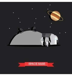 space base and astronauts vector image vector image