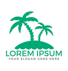 summer beach abstract palm tree logo vector image