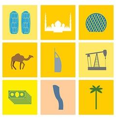 UAE landmark icons set Camels and oil pumps Palm vector image