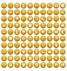 100 sneakers icons set gold vector image vector image