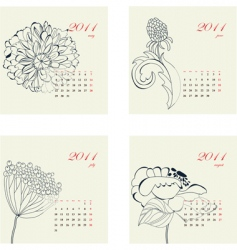 calendar with flowers for 2011 vector image