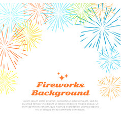 fireworks background colorful salute on white vector image vector image