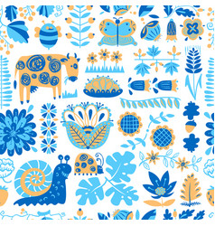 floral seamless pattern with animals and insects vector image